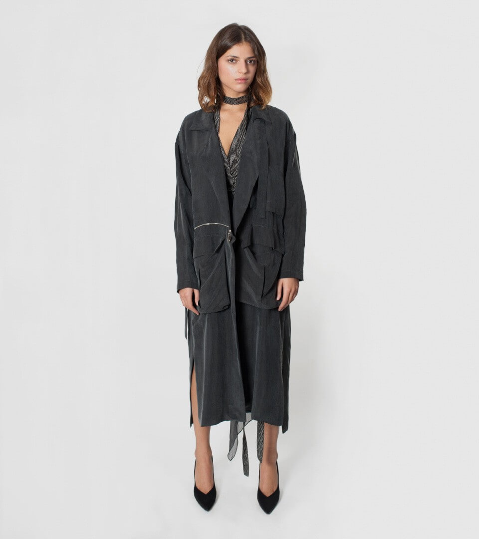 graphite coat with pockets